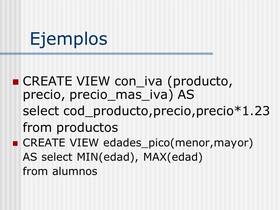 Ejemplos CREATE VIEW con_iva (producto, precio, precio_mas_iva) AS