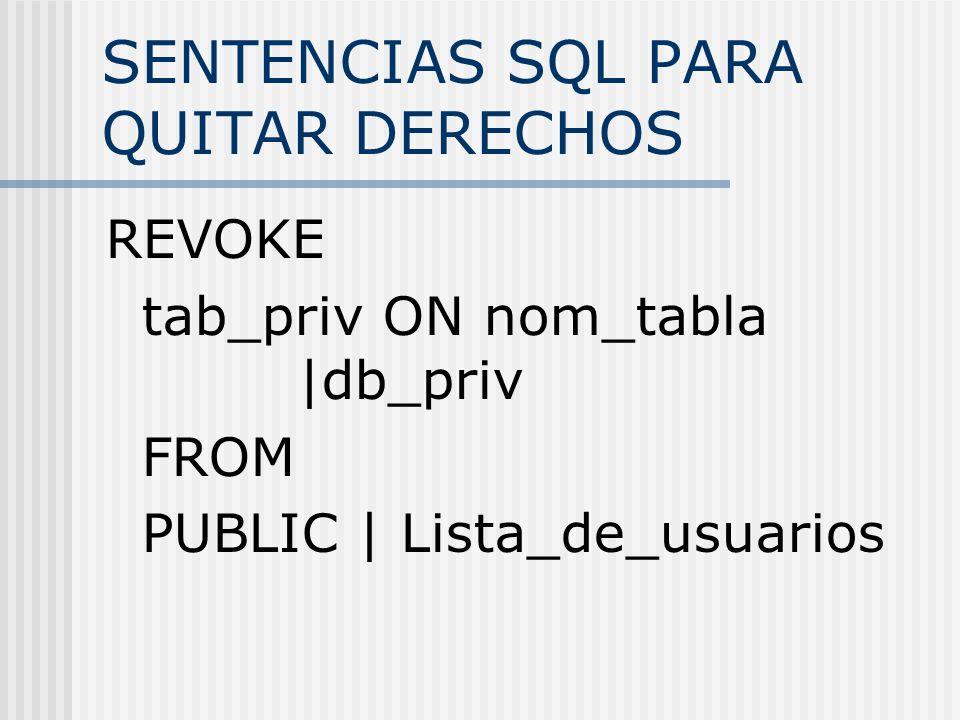 SENTENCIAS SQL PARA QUITAR DERECHOS