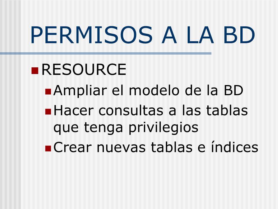 PERMISOS A LA BD RESOURCE Ampliar el modelo de la BD