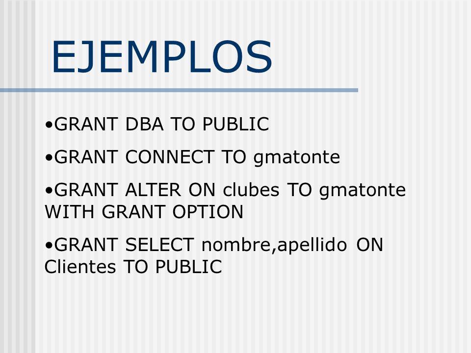 EJEMPLOS GRANT DBA TO PUBLIC GRANT CONNECT TO gmatonte