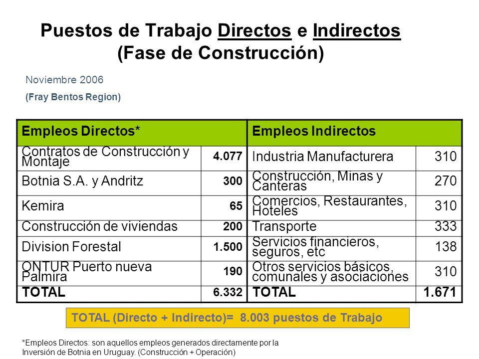Puestos de Trabajo Directos e Indirectos (Fase de Construcción)