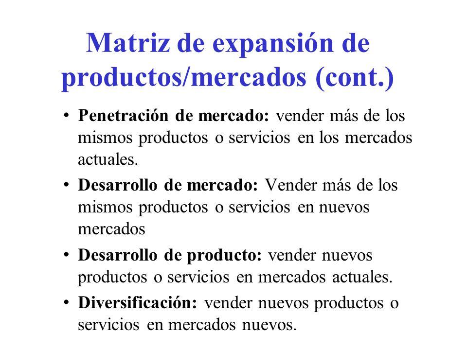 Matriz de expansión de productos/mercados (cont.)