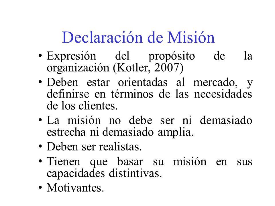 Declaración de Misión Expresión del propósito de la organización (Kotler, 2007)
