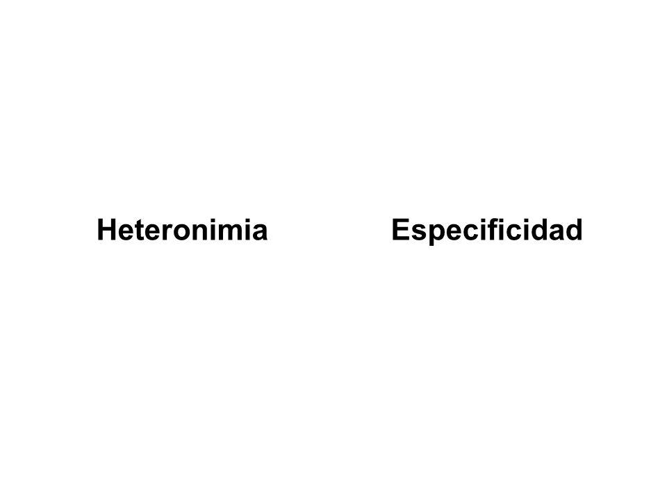 Heteronimia Especificidad