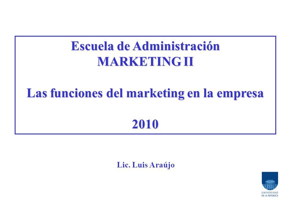 Escuela de Administración Las funciones del marketing en la empresa