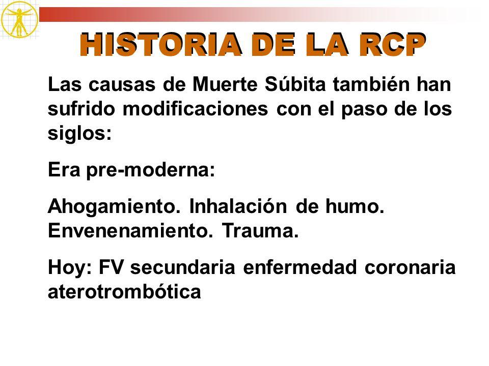 HISTORIA DE LA RCP Las causas de Muerte Súbita también han sufrido modificaciones con el paso de los siglos: