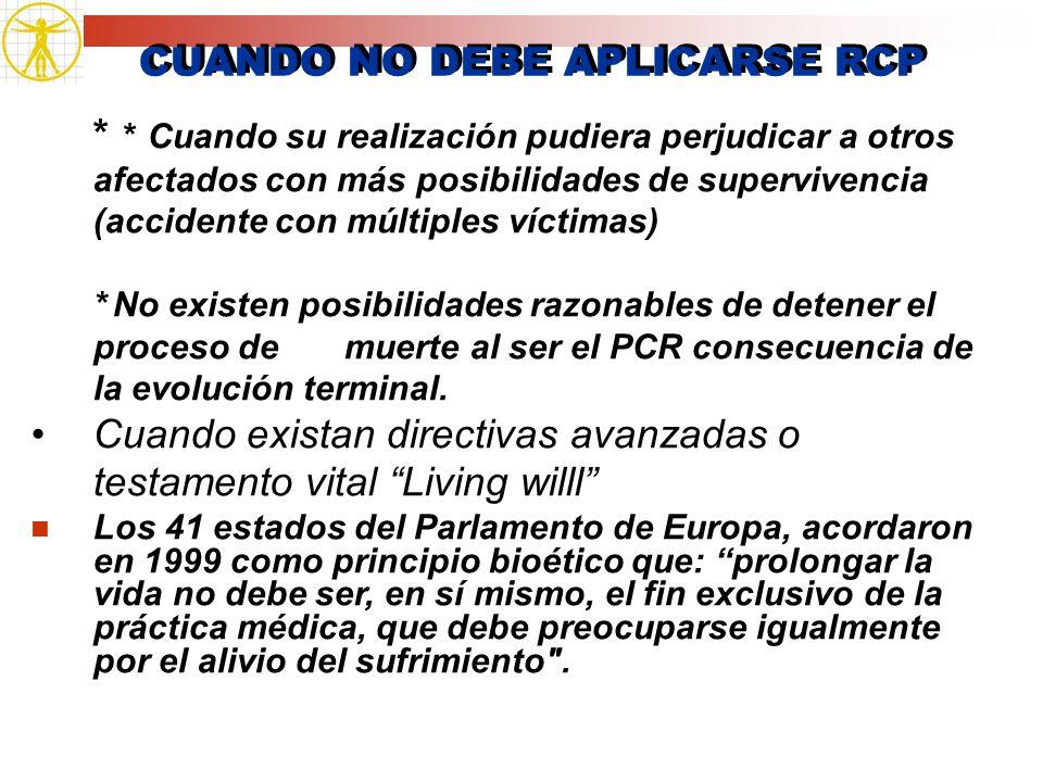 CUANDO NO DEBE APLICARSE RCP