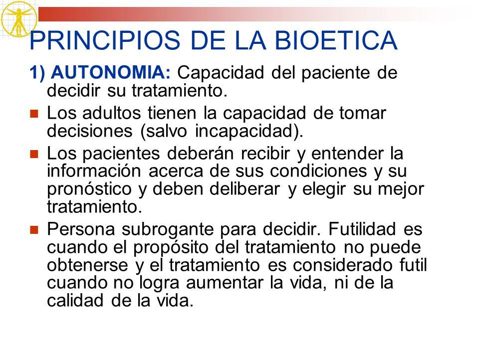 PRINCIPIOS DE LA BIOETICA