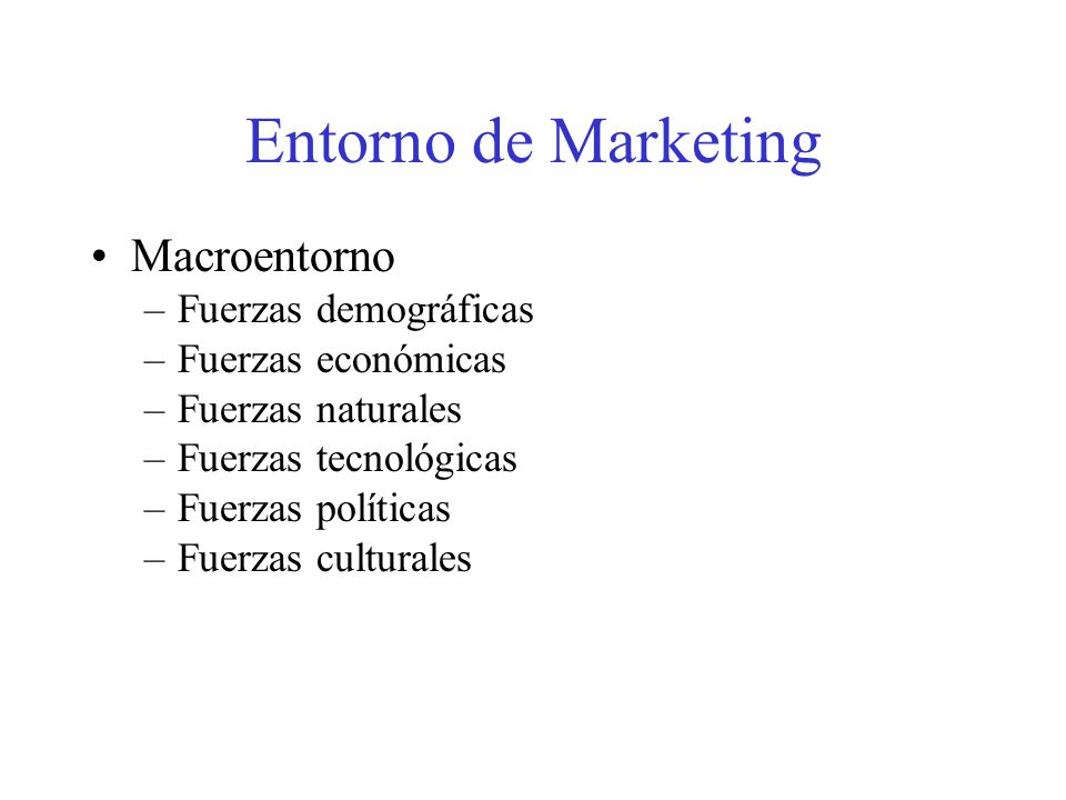 Entorno de Marketing Macroentorno Fuerzas demográficas