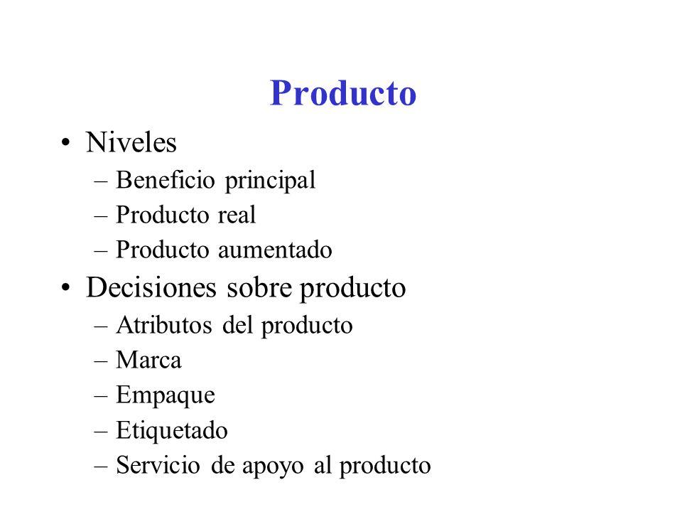 Producto Niveles Decisiones sobre producto Beneficio principal