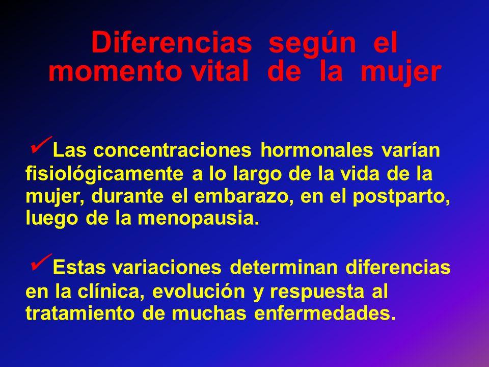 Diferencias según el momento vital de la mujer