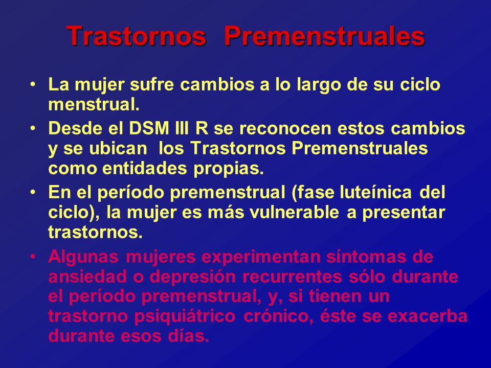 Trastornos Premenstruales