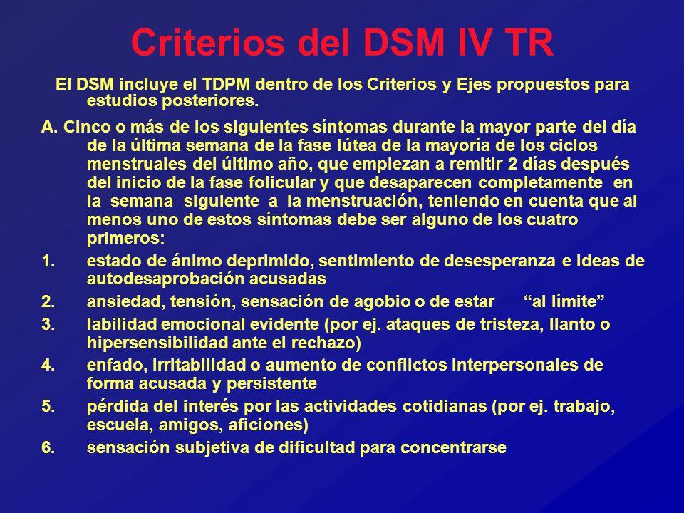 Criterios del DSM IV TR El DSM incluye el TDPM dentro de los Criterios y Ejes propuestos para estudios posteriores.