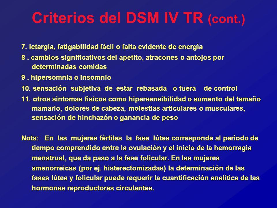 Criterios del DSM IV TR (cont.)