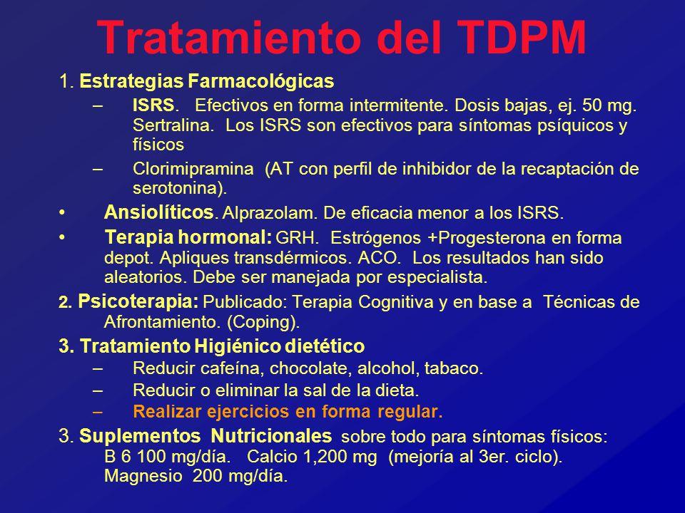 Tratamiento del TDPM 1. Estrategias Farmacológicas