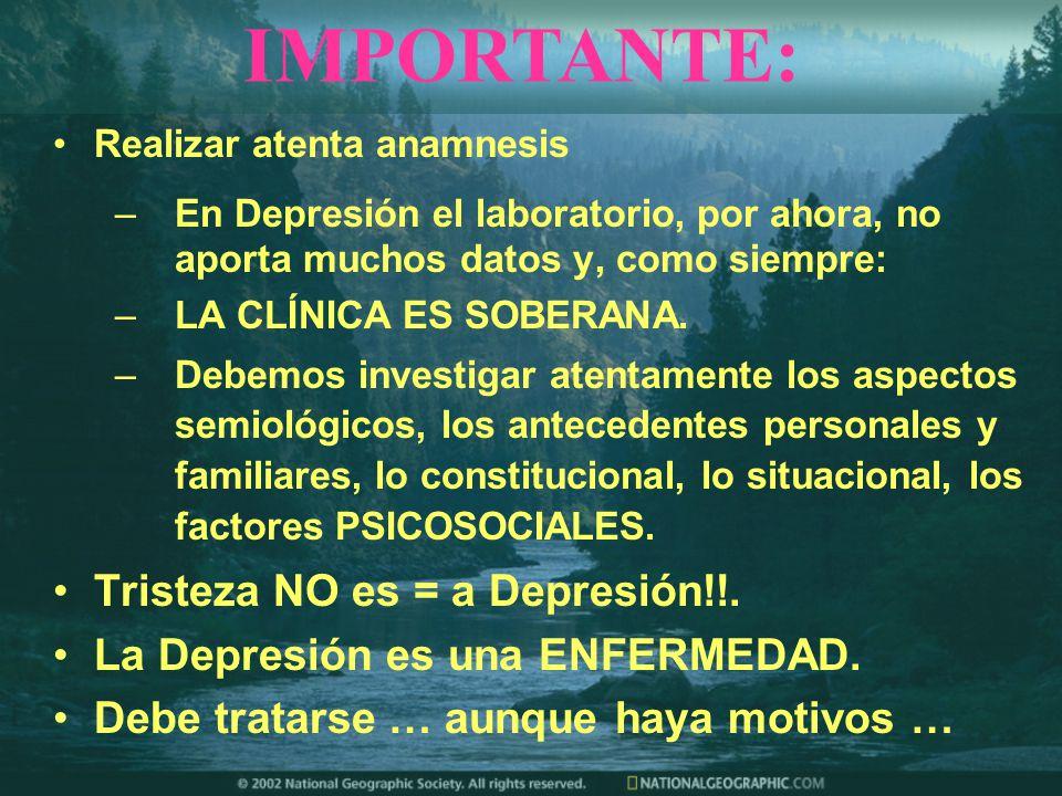 IMPORTANTE: Tristeza NO es = a Depresión!!.