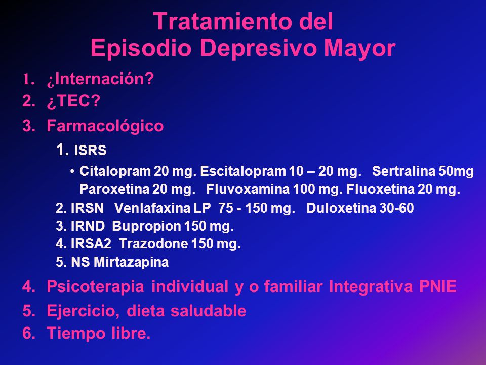 Tratamiento del Episodio Depresivo Mayor
