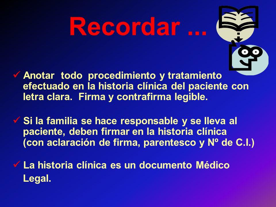 Recordar ...  Anotar todo procedimiento y tratamiento efectuado en la historia clínica del paciente con letra clara. Firma y contrafirma legible.