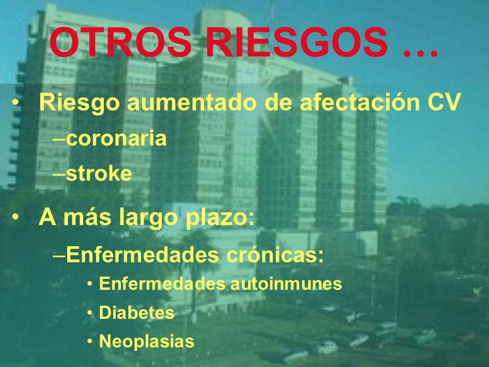 OTROS RIESGOS … Riesgo aumentado de afectación CV A más largo plazo: