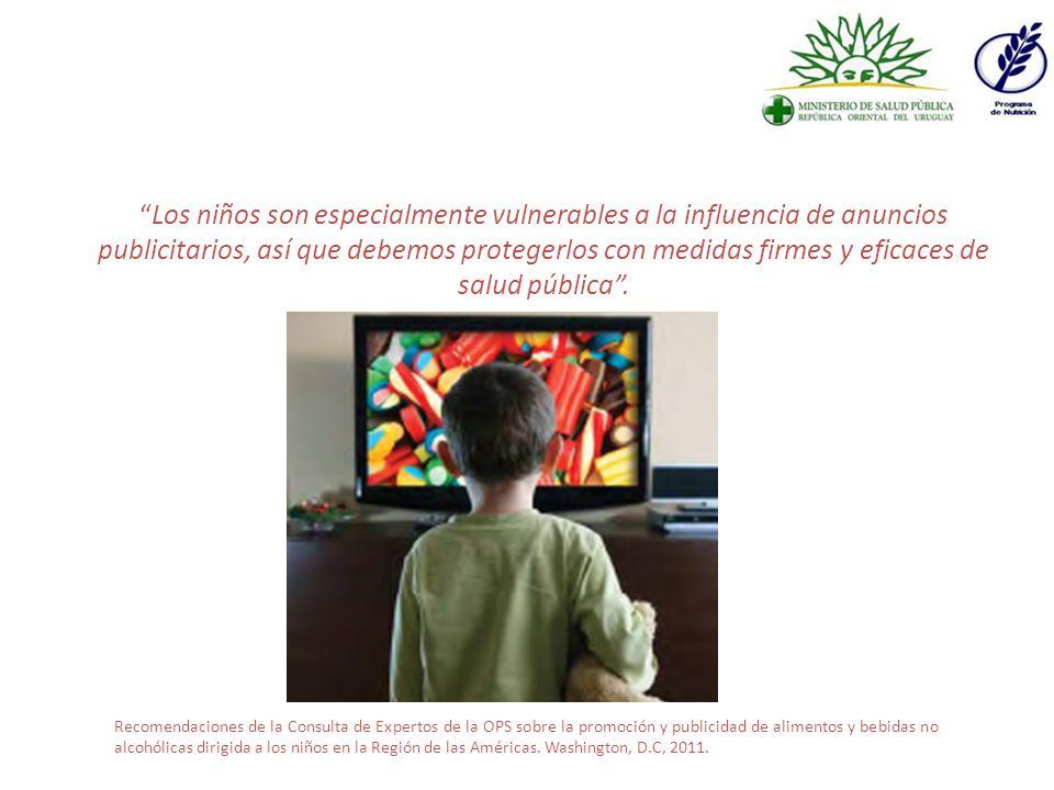 Los niños son especialmente vulnerables a la influencia de anuncios publicitarios, así que debemos protegerlos con medidas firmes y eficaces de salud pública .