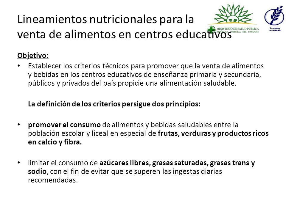 Lineamientos nutricionales para la venta de alimentos en centros educativos