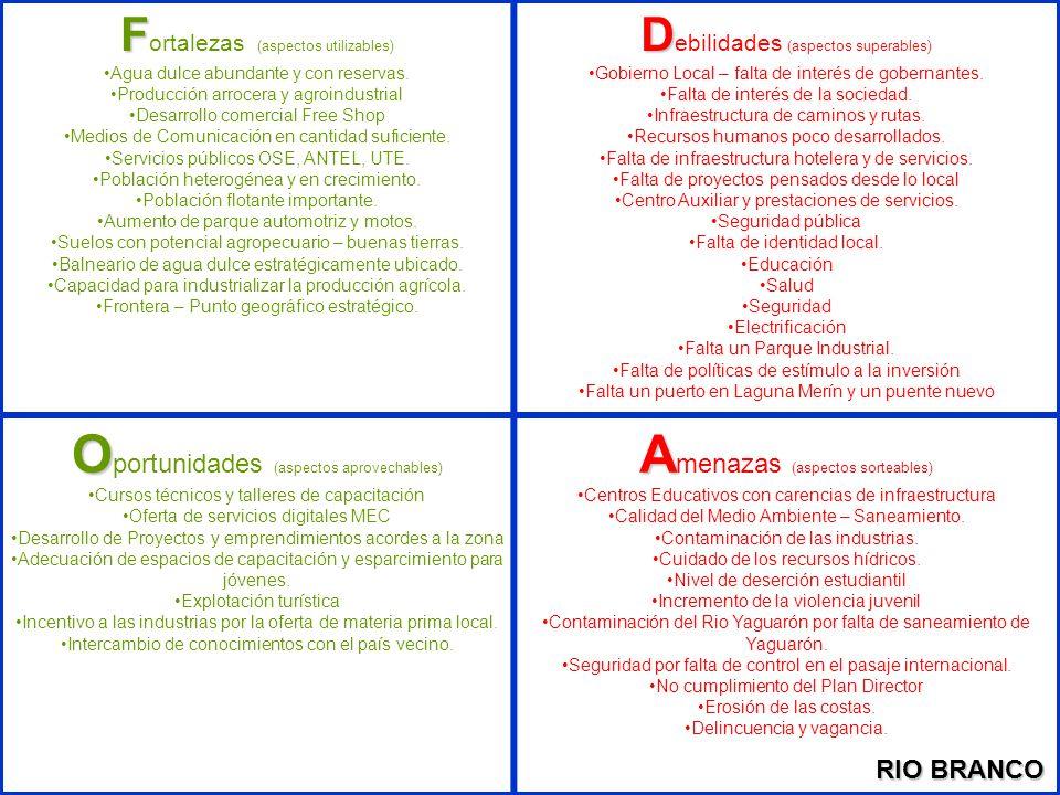 Oportunidades (aspectos aprovechables) Amenazas (aspectos sorteables)