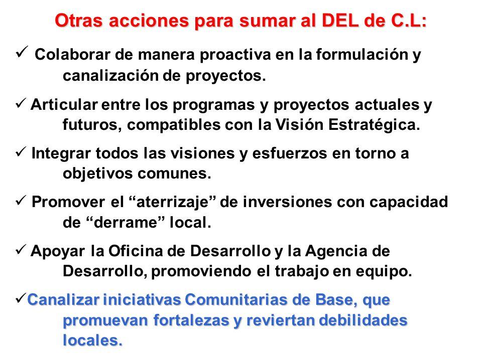 Otras acciones para sumar al DEL de C.L:
