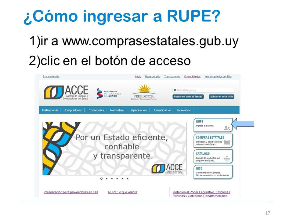 ¿Cómo ingresar a RUPE ir a www.comprasestatales.gub.uy