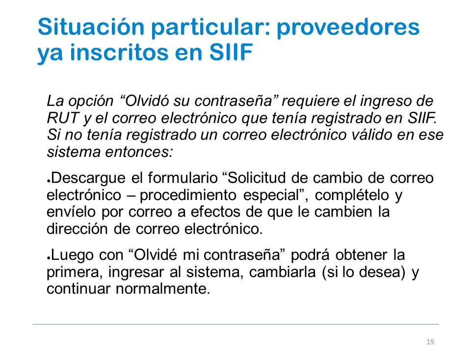 Situación particular: proveedores ya inscritos en SIIF