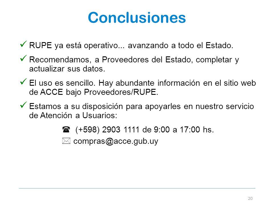 Conclusiones RUPE ya está operativo... avanzando a todo el Estado.