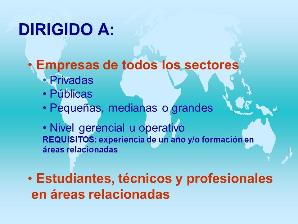 DIRIGIDO A: Empresas de todos los sectores