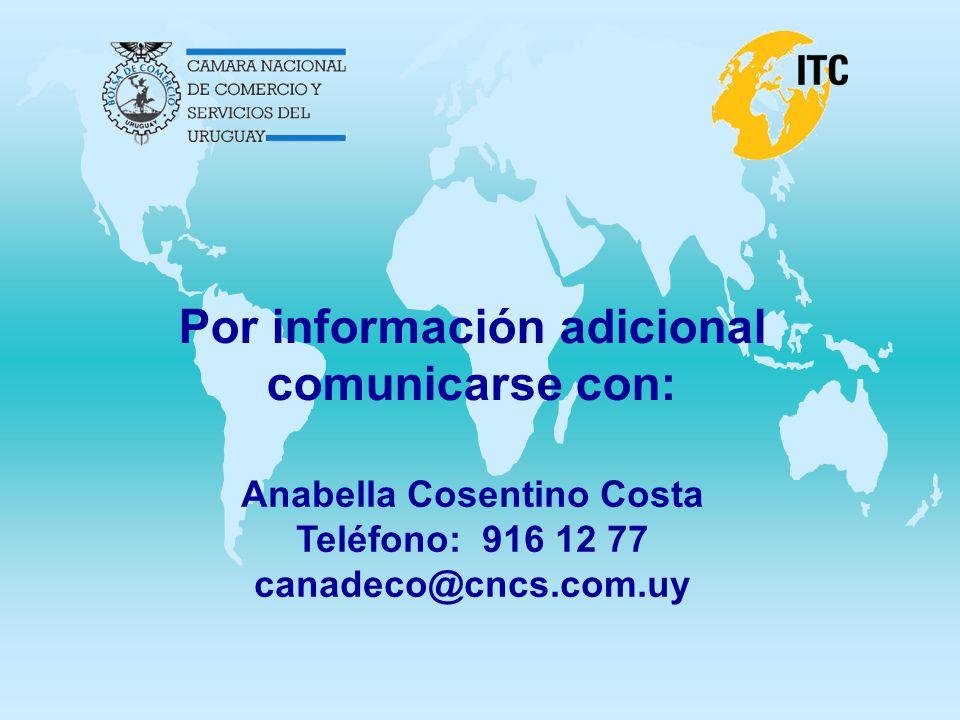 Por información adicional comunicarse con: Anabella Cosentino Costa