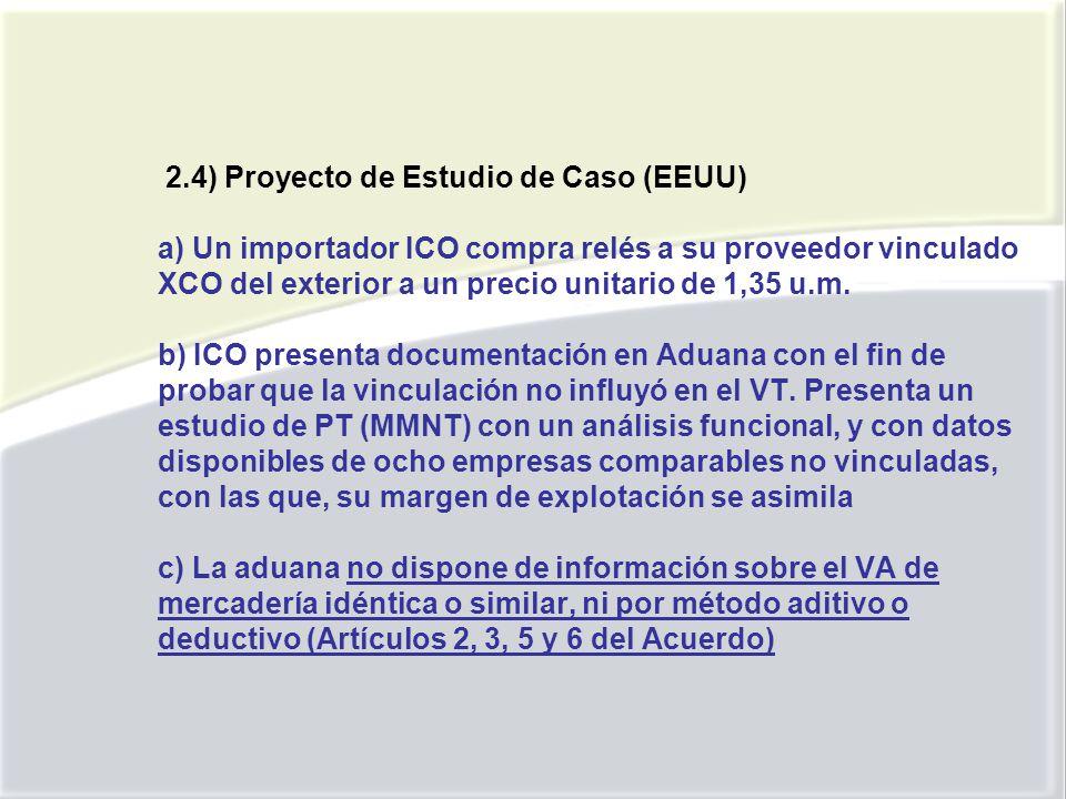 2.4) Proyecto de Estudio de Caso (EEUU) a) Un importador ICO compra relés a su proveedor vinculado XCO del exterior a un precio unitario de 1,35 u.m.