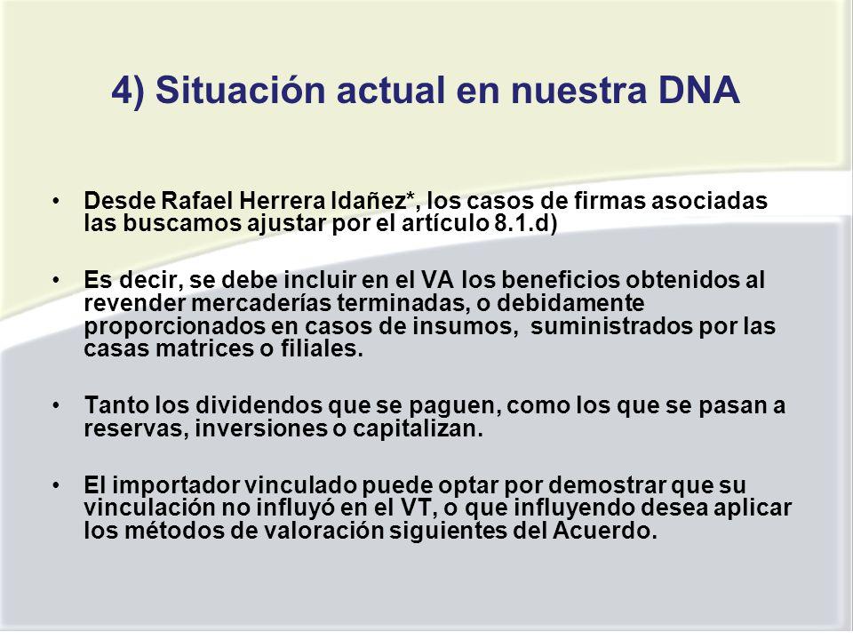 4) Situación actual en nuestra DNA
