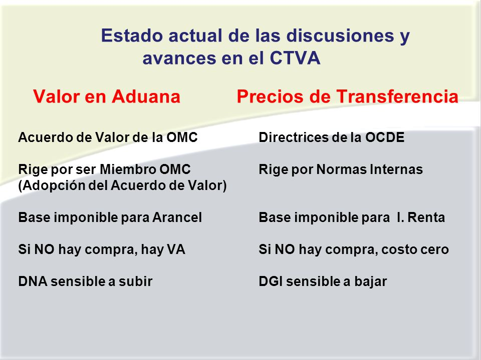 Estado actual de las discusiones y avances en el CTVA Valor en Aduana