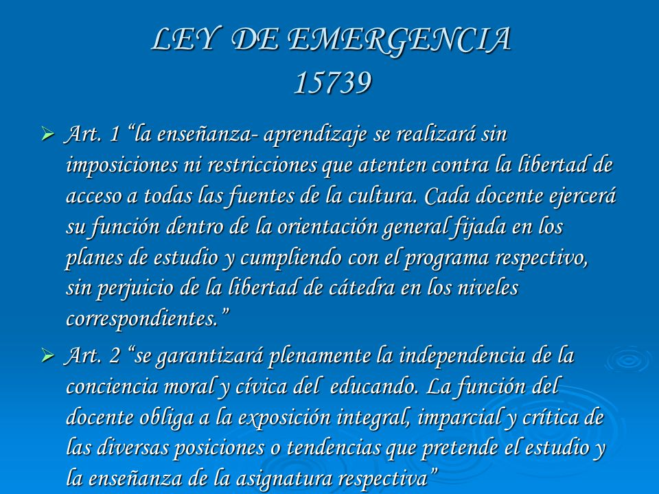 LEY DE EMERGENCIA 15739