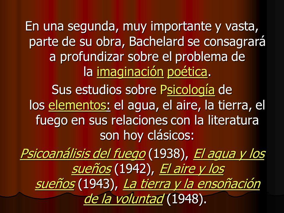 En una segunda, muy importante y vasta, parte de su obra, Bachelard se consagrará a profundizar sobre el problema de la imaginación poética.