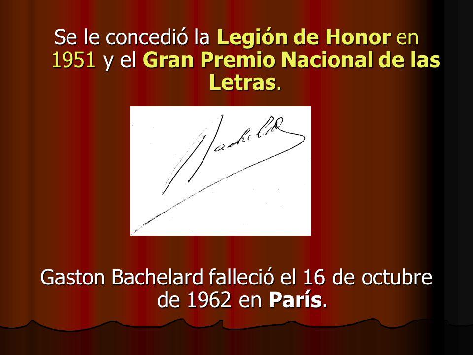 Gaston Bachelard falleció el 16 de octubre de 1962 en París.