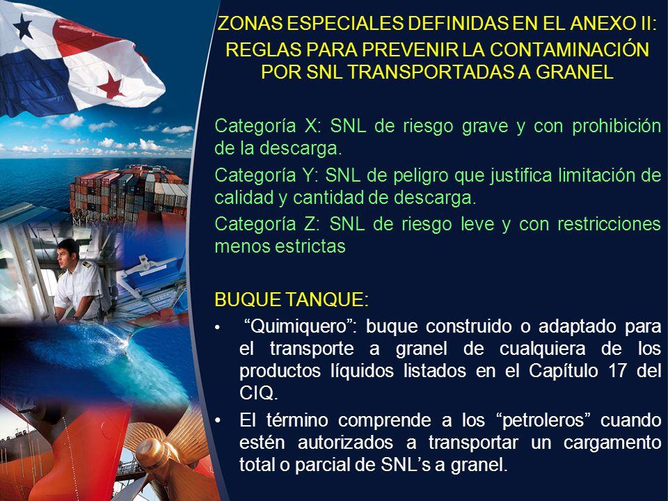 ZONAS ESPECIALES DEFINIDAS EN EL ANEXO II: