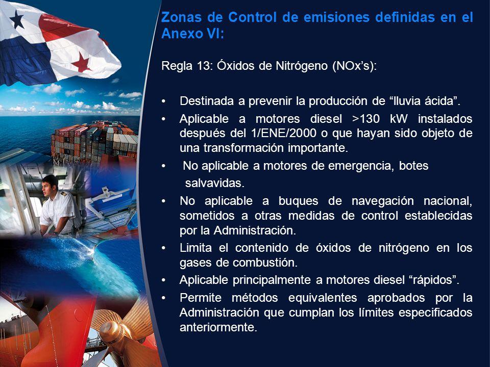 Zonas de Control de emisiones definidas en el Anexo VI: