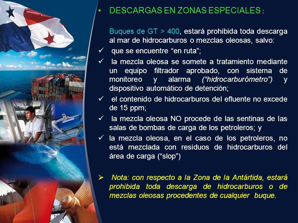DESCARGAS EN ZONAS ESPECIALES :