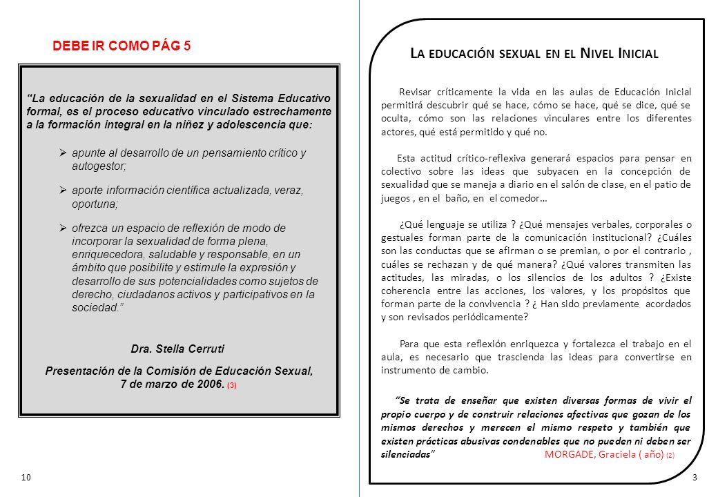 La educación sexual en el Nivel Inicial
