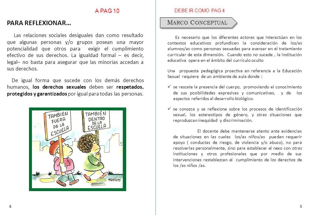 PARA REFLEXIONAR… Marco Conceptual A PAG 10