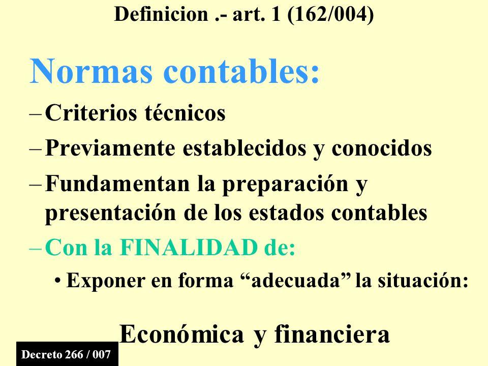 Normas contables: Criterios técnicos
