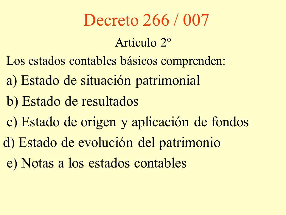 Decreto 266 / 007 b) Estado de resultados