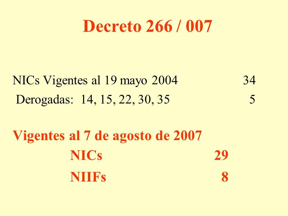 Decreto 266 / 007 Vigentes al 7 de agosto de 2007 NICs 29 NIIFs 8