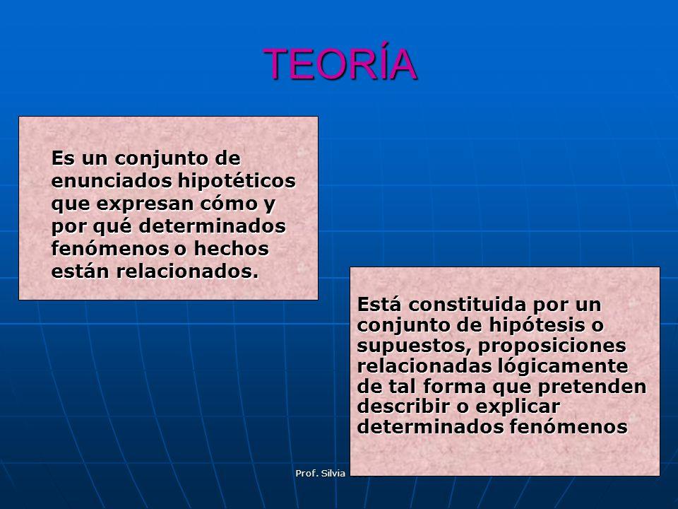 TEORÍA Es un conjunto de enunciados hipotéticos que expresan cómo y por qué determinados fenómenos o hechos están relacionados.