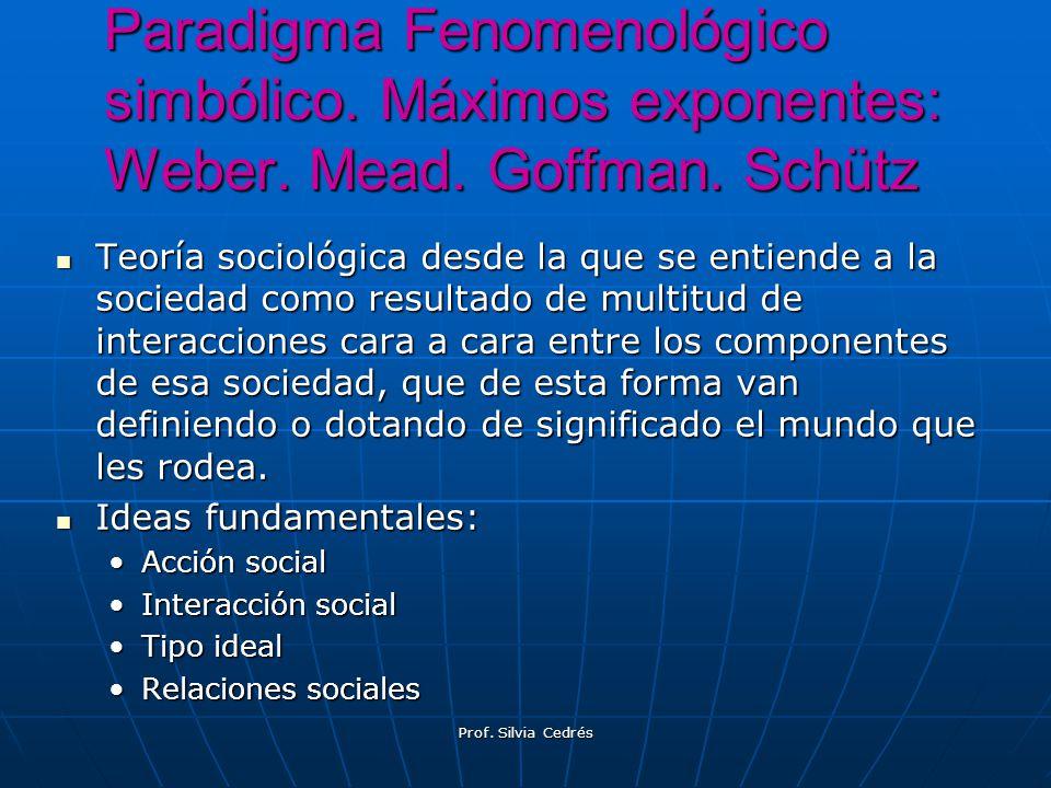 Paradigma Fenomenológico simbólico. Máximos exponentes: Weber. Mead