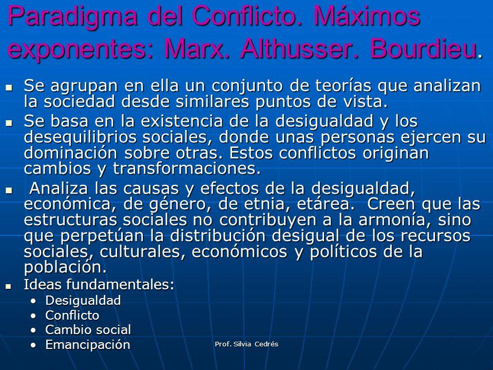 Paradigma del Conflicto. Máximos exponentes: Marx. Althusser. Bourdieu.