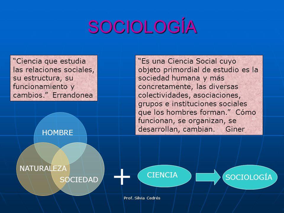 SOCIOLOGÍA Ciencia que estudia las relaciones sociales, su estructura, su funcionamiento y cambios. Errandonea.